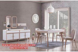 meja makan rustik 4 kursi retro modern skm-005