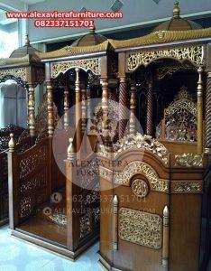 mimbar masjid ukiran jepara, gambar mimbar masjid, ukuran mimbar masjid minimalis mpm-001