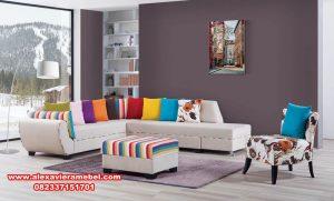sofa tamu sudut fanky modern minimalis, sofa sudut modern, sofa sudut mewah