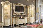 Bufet tv duco putih mewah modern mahoni SBT-008