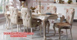 Model set meja makan klasik modern ukiran Jepara skm-020