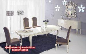 set meja makan mewah minimalis duco putih ivory skm-018