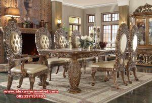 1 set meja makan klasik mewah golden skm-022