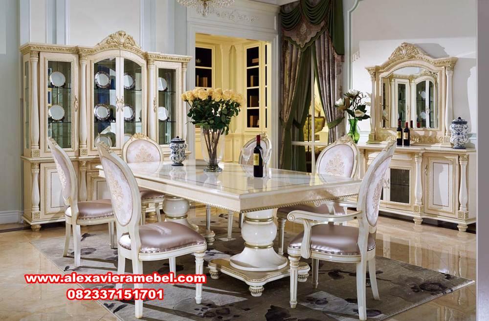 harga meja makan mewah modern rococo putih, meja makan mewah, meja makan modern, harga meja makan modern mewah, meja makan Jepara terbaru, harga set meja makan mewah, meja kursi makan