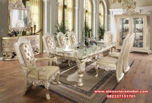 set kursi makan klasik mewah luxury duco, meja makan klasik, meja makan klasik mewah, meja makan mewah, meja kursi makan, daftar harga meja makan, harga set meja makan mewah, meja makan Jepara terbaru