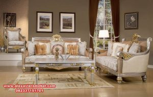 Sofa ruang tamu mewah silver gold luxury Srt-031