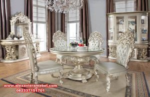 Desain set kursi makan ukiran klasik mewah mesopotamia Skm-039