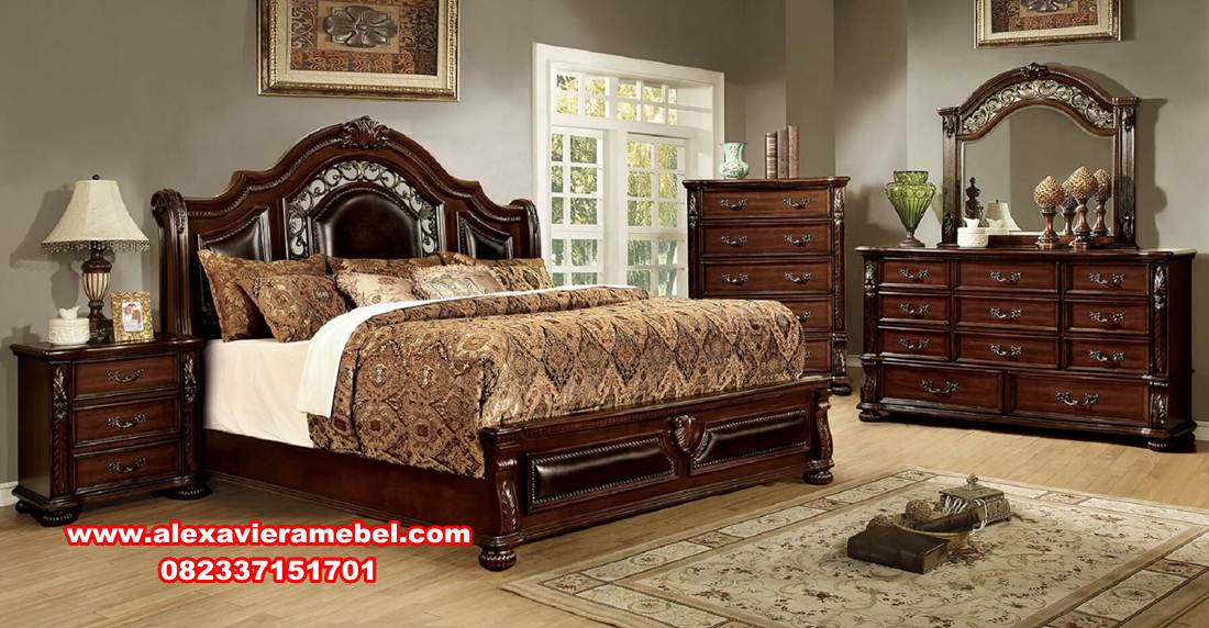 kamar set jati, harga kamar set mewah, 1 set tempat tidur jati, set tempat tidur mewah modern, kamar set jati mewah terbaru cherry brown, jual set kamar klasik mewah, harga tempat tidur mewah modern