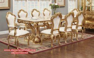meja makan klasik, meja makan mewah, model meja makan gold klasik mewah tupello, set kursi makan klasik, model meja makan mewah terbaru, model meja makan klasik modern