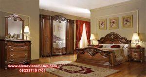 Satu set tempat tidur jati klasik terbaru Elizabeth Ks-025