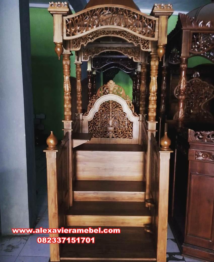 gambar mimbar kubah minimalis bukhori, podium masjid, mimbar masjid jati, mimbar masjid, mimbar masjid sederhana