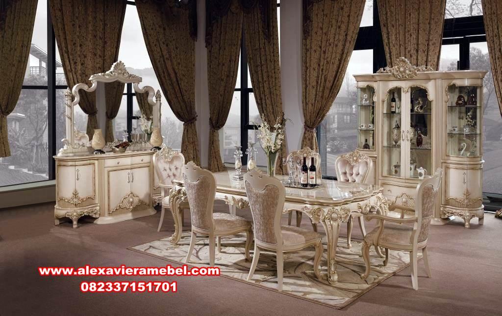 set meja kursi makan klasik mewah Ganesha, model meja makan klasik modern, meja makan klasik mewah, meja makan klasik, meja makan mewah, model meja makan mewah terbaru