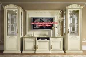 Jual bufet tv set mewah duco putih linea berkualitas Sbt-043