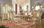 Meja makan klasik mewah duco putih tulang cleopatra Skm-052