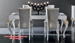 Model meja makan klasik modern duco silver italy Skm-058