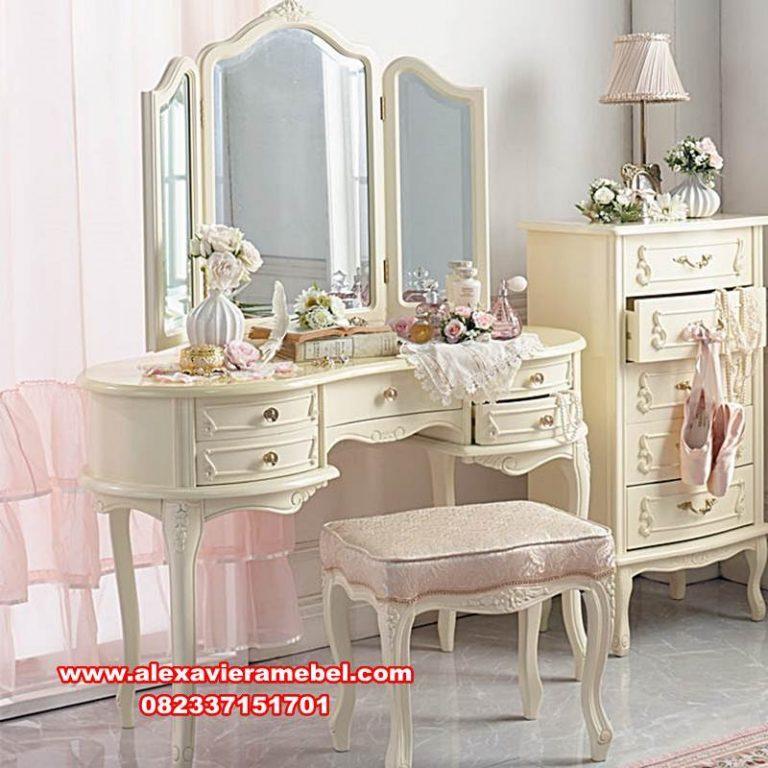 model meja rias klasik minimalis putih, set meja rias, meja rias mewah, meja rias dan figura modern klasik terbaru