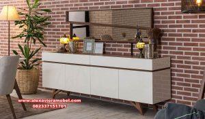 Jual meja konsul dan figura cermin retro minimalis kayu jati Mkr-047