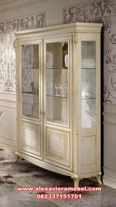 model lemari kristal modern putih duco venezia sbt-053