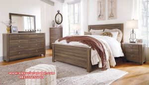 model set tempat tidur minimalis kayu jati ks-060