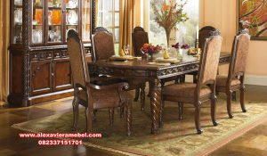 Set kursi makan kayu jati model klasik mewah javina Skm-061