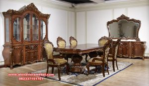 Set meja makan Jepara mewah ukir klasik kayu jati perhutani Skm-063