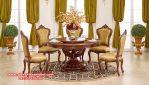 Model set meja makan bulat klasik mewah jati Jepara Skm-070