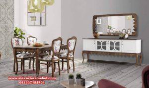 set meja kursi makan modern kayu jati klasik skm-072