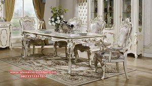 Set meja makan klasik mewah silver duco ukiran ankarada Skm-076