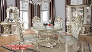 meja makan klasik putih duco luxury furniture skm-086