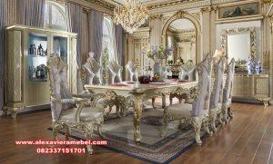 Set meja makan mewah ukiran duco model eropa Skm-084