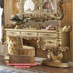 Set meja rias kaca klasik ukiran mewah elegan gold Mkr-071