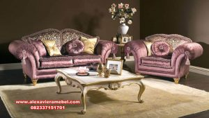 Set sofa ruang tamu model mewah modern violet purple Srt-090