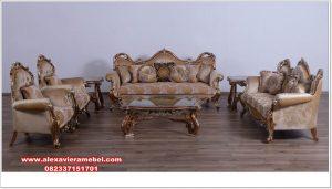 Sofa ruang tamu kayu jati mewah ukiran tiziano Srt-099