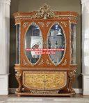 lemari kristal hias mewah kayu jati klasik sbt-090