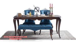 set kursi makan jati klasik minimalis elegan terbaru skm-109
