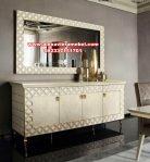 set meja dan pigura konsul modern putih minimalis flamingo mkr-081