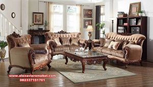 sofa kursi tamu ukiran mewah kayu jati modern terbaru srt-118