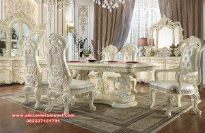 dining table set mewah duco putih ukiran klasik skm-118