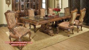 harga set meja makan 8 kursi jati mewah alexaviera mebel skm-127