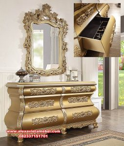 set dresser table zamaica gold mewah luks mkr-099