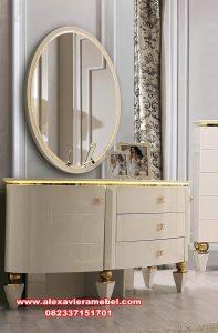 set meja rias putih modern gloria mkr-113