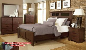 bedroom set furniture modern minimalis teak wood ks-117