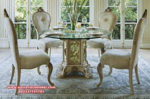 model-meja-makan-kaca-kursi-makan-classic-mewah Skm-157