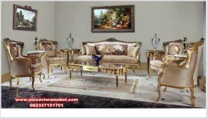 kursi sofa tamu jati klasik kombinasi gold srt-164