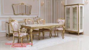 Set meja makan klasik mewah alise gold duco Skm-173