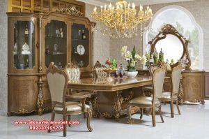 Set meja kursi makan mewah ukiran klasik terbaru Skm-062