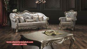 Desain set sofa tamu Jepara terbaru mewah modern silver Srt-069