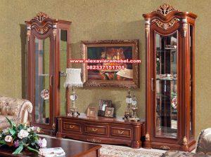 Gambar set bufet tv lemari hias kayu jati klasik mewah Sbt-063