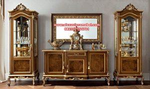 set bufet tv mewah dan lemari hias kayu jati sbt-068