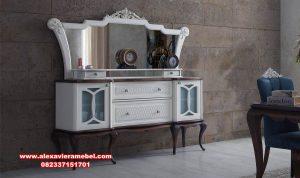 set meja konsul cermin modern putih radix mkr-056